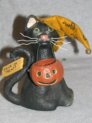 "Halloween Black Cat Jack O Lantern Trick or Treat Paper Mache 7"" Bethany Lowe ?"