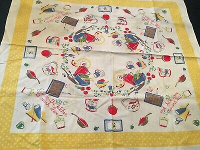 Vintage 1940s/1950s Printed Kitchen Poem Tablecloth