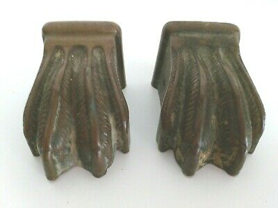 Lot of 2 Antique Vintage Metal Claw Feet for Furniture Restoration