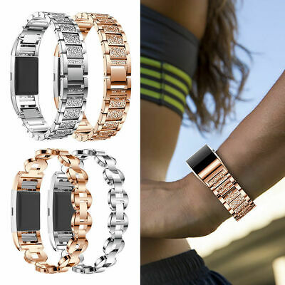 For Fitbit Charge 2 3 Smart Watch Crystal Stainless Steel Watch Band Wrist Strap