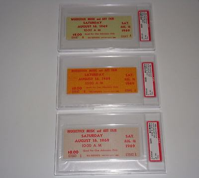 Woodstock 3 Authentic 1969 Psa Saturday Tickets Janis Joplin Jimi Hendrix Tya