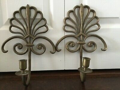 Pair Of Antique Cast Brass Scroll Twin Wall Sconces