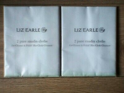 Liz Earle ORIGINAL Pure MUSLIN Cleansing Cloths in Sealed Packets x2 Total of 4