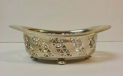 """Towle Sterling Silver 6"""" Oval Pierced Edge Footed Dish / Bowl #280"""
