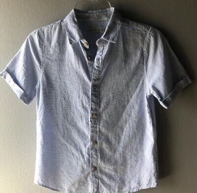 Zara Kids Boys Linen Blend Light Blue Button Down Shirt Size 9