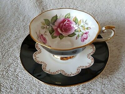 Collectable Vintage Queen's 'Ebony' Fine Bone China Teacup & Saucer Pink Roses