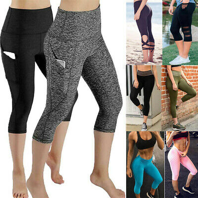Womens Capri Leggings Fitness Running Gym Exercise Yoga Pants Sports Active Wear