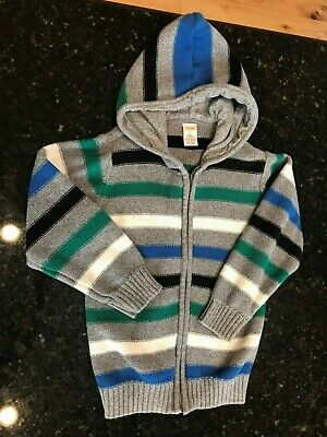 gymboree Toddler Boys Blue Green zip up hooded sweater Sz 5T