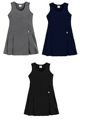 Girls School Uniform One Side Button Pleated Front Pinafore Dress Age 2-16 Years