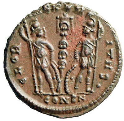"""Constantine I The Great """"Soldiers, Dot in Legend"""" Constantinople RIC 149 Rare EF"""