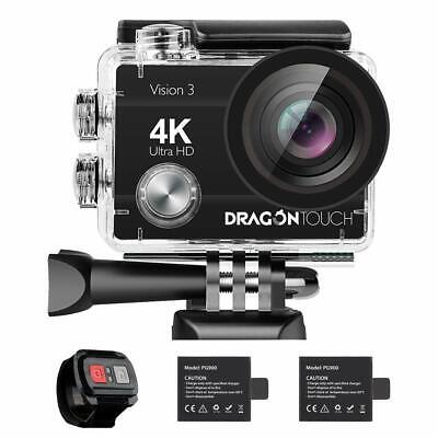 Dragon Touch Vision 3 4K WiFi Sports Action Camera Ultra HD Underwater new