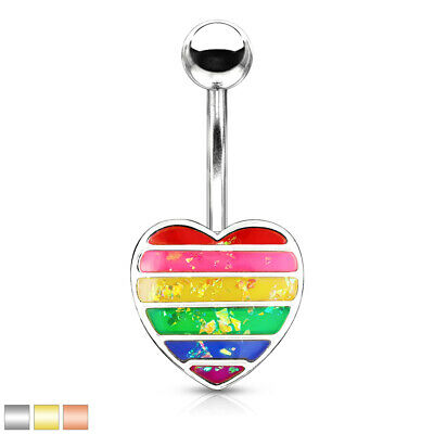 1pc Vintage Heart Dangle Belly Ring Navel Naval w11