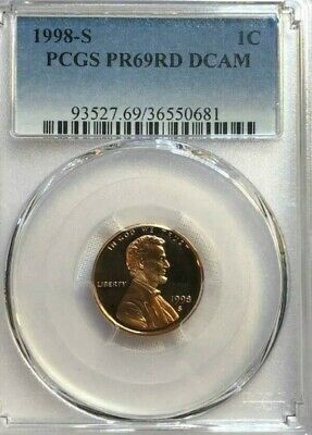 1998 S 1C Lincoln Cent Proof PCGS PR69DCAM Red NO RESERVE!