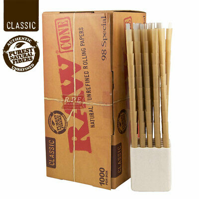 RAW CLASSIC 98 Special Cones Unbleached Pre-Rolled w/ Filter - 100 Pack