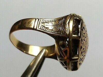 Huge Medieval Gold Ring Temple Top