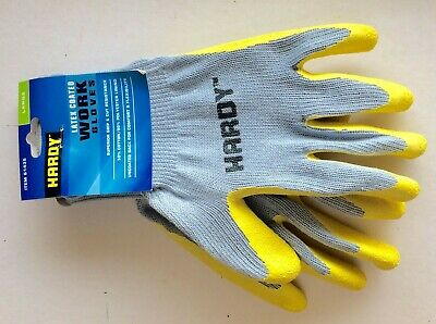 5 Pairs Of Hardy LATEX COATED Work GLOVES : Size LARGE 5 pairs