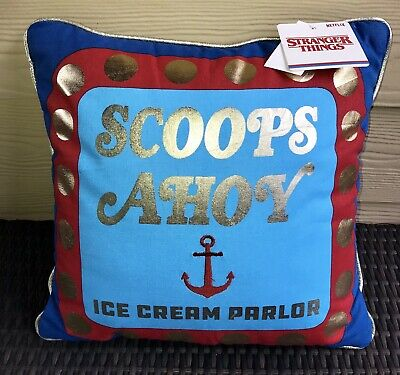 "Stranger Things Netflix Scoops Ahoy Throw Pillow 16''x16"" Soft Corduroy Back NEW"