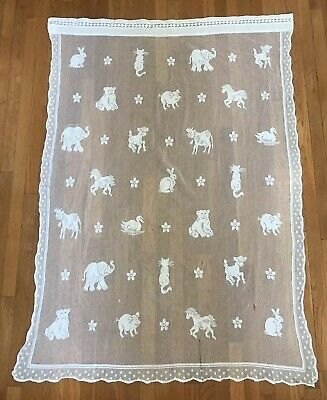 Vintage Coming Home Baby Blanket White animal floral Open Knit Scotland Infant