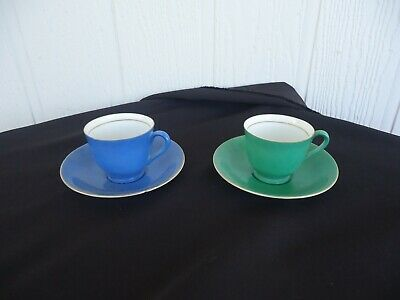 2 vintage retro art deco Japan harlequin tea coffee cups & saucers green & blue