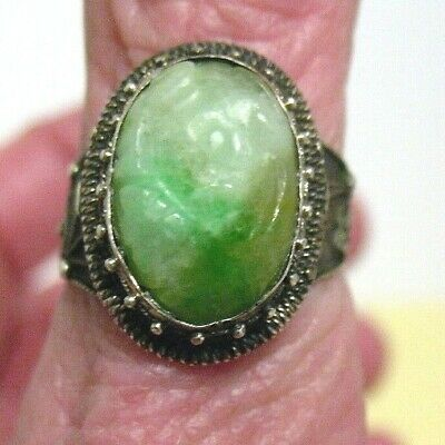 Antique Sterling Silver Carved Jade Chinese Export Ring Adjustable 4.9 Grams