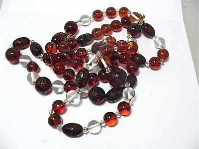 Incredible Antique Incredible Carved Amber Rock Crystal Necklace Opera Length