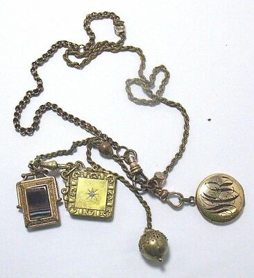 Victorian Gold Filled Watch Chain Necklace 4 Fob Charms Sealed Lockets 43 Grams