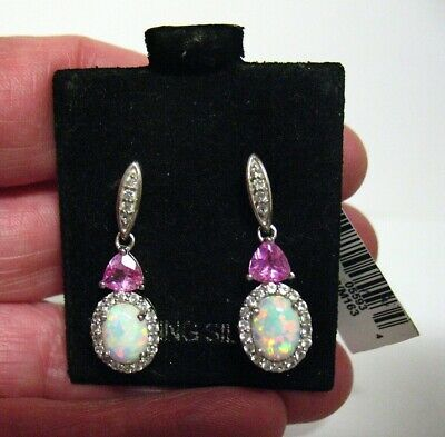 Sterling Silver Opal Crystal Pink Clear Dangle Earrings Pierced Mint On Card