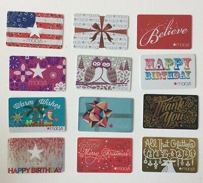 LOT 6 MACYS Gift Cards No Value Collectible Birthday Hello