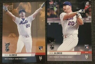 2019 PETE ALONSO Topps NOW Home Run Derby Winner 2 Card Lot With BONUS Card METS