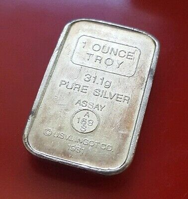 1981 USVI A-MARK 1 Troy oz .999 Fine Silver Stackable Chunky Bullion Bar Ingot