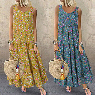 Women Plus Casual Loose Sleeveless Floral Daily Linen Print Long Maxi Dress NA