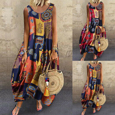 Women Vintage Bohemian Print Linen Floral Sleeveless O-Neck Straps Maxi Dress NA