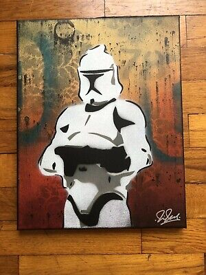 "Star Wars Clone Trooper 11"" X 14"" Original On Canvas Street Art Jedi Obey"