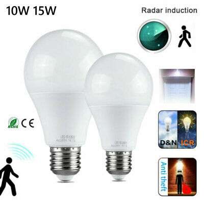 E27 Radar Sensor PIR Body Motion 10W 15W LED Globe Bulb Light Lamp 110V 220V