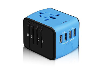 International Travel Power Adapter All-in-one Universal Charger with 2.4A 4USB