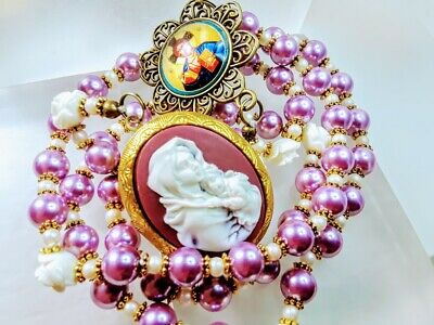 Beautiful Victorian Style Lavender Pearl Madonna Child Locket Catholic Rosary