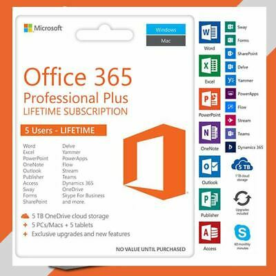 INSTANT MICROSOFT OFFICE 365 LIFETIME License ? 5 DEVICES 5TB  Key ? WIN/Mac