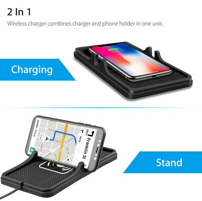 Qi Wireless Smartphone Charger C3 Car Phone Mount Holder Silicone Pad for Iphone
