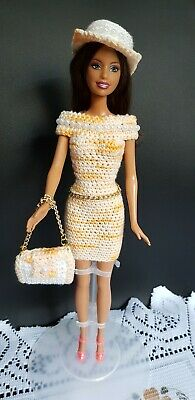 BARBIE DOLL PRELOVED Crochet DRESS, HAT, BAG,with SHOES, BEAUTIFUL HAIR.