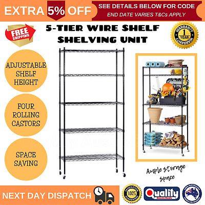 90cm 5-Tier Wire Shelf Shelving Unit Storage Shelves Rack Kitchen Adjustable NEW