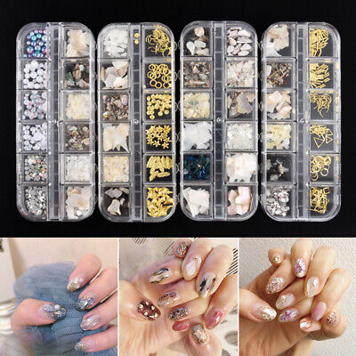 12 Grids Nail Art Flake Sequin Irregular Shell Crushed 3D DIY Manicure Decor