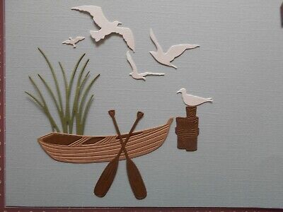 Die cuts - 2 Sets x Boat, Oars, Sea Birds, Grass, Birthday, Father's Day
