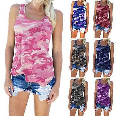 Womens Sleeveless Camouflage Vest Tops Camo Loose T Shirt Summer Plus Size Slim