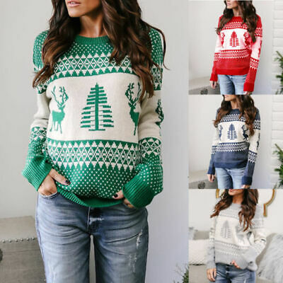 Warm Women Blouses Jumper Pullover Tops Knitted Christmas Long Sleeve Sweater