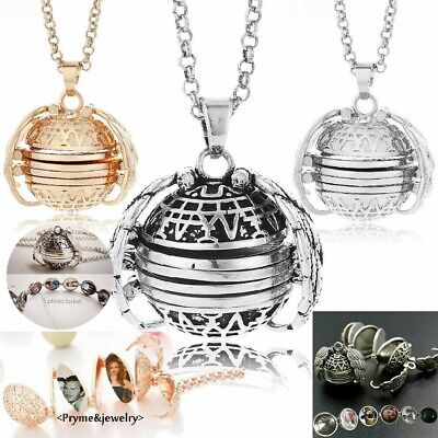 Expanding 5 Photo Locket Necklace Magic Ball Angel Wing Pendant Memorial Gift EQ