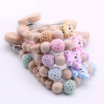 Cartoon Koala Silicone Wood Beads Personalized Name Baby Pacifier Chain Clip Toy