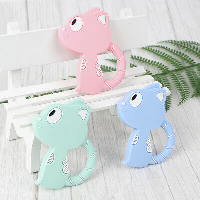 Cartoon Cat Baby Teether Silicone Pacifier Soother Teething Nursing Toy Gift