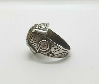 Islamic Unique Solid Silver And Gold Gilded Very Unique Old Ring # 34