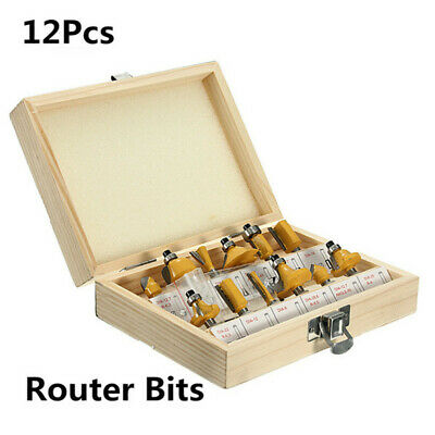 "12Pcs 1/4"" Shank Router Bit Set Tungsten Carbide Rotary Tool Wood Kit +Wood Box"