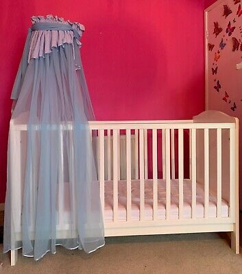 Wooden Baby Cot Bed & Waterproof Sprung Mattress & Canopy ✔ Converts to Toddler